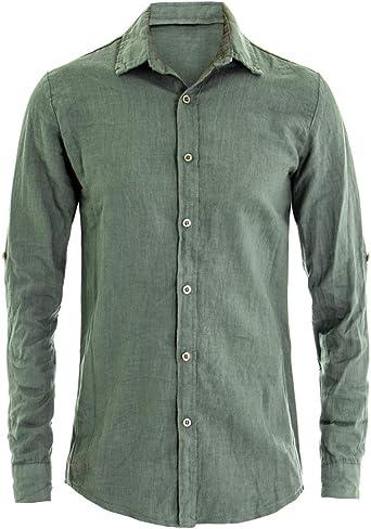 Giosal - Camisa de hombre de lino de manga larga y cuello liso verde Verde 3XL: Amazon.es: Ropa y accesorios