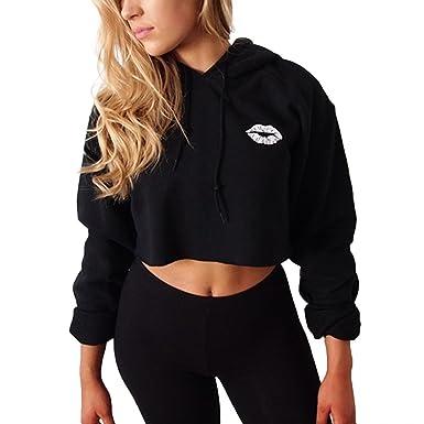 2dd04b021a Starstreetcom Women Hoodies Long Sleeve Plain Hooded Top Sweatshirt Hoody Cropped  Jumpers Crop Tops  Amazon.co.uk  Clothing