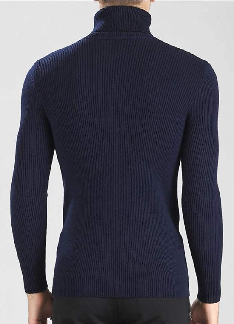 Generic Mens Slim Fit Cable Knit Long Sleeve Turtle Neck Pullover Sweaters