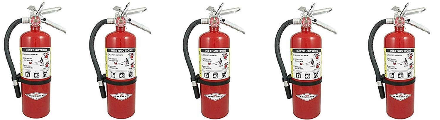 (Lot of 5) 5 Lb. Type ABC Dry Chemical Fire Extinguishers, with 5 - Wall Bracket and 5 - Certification Tag - Ready For Fire Inspections - 3A - 40 BC Rating