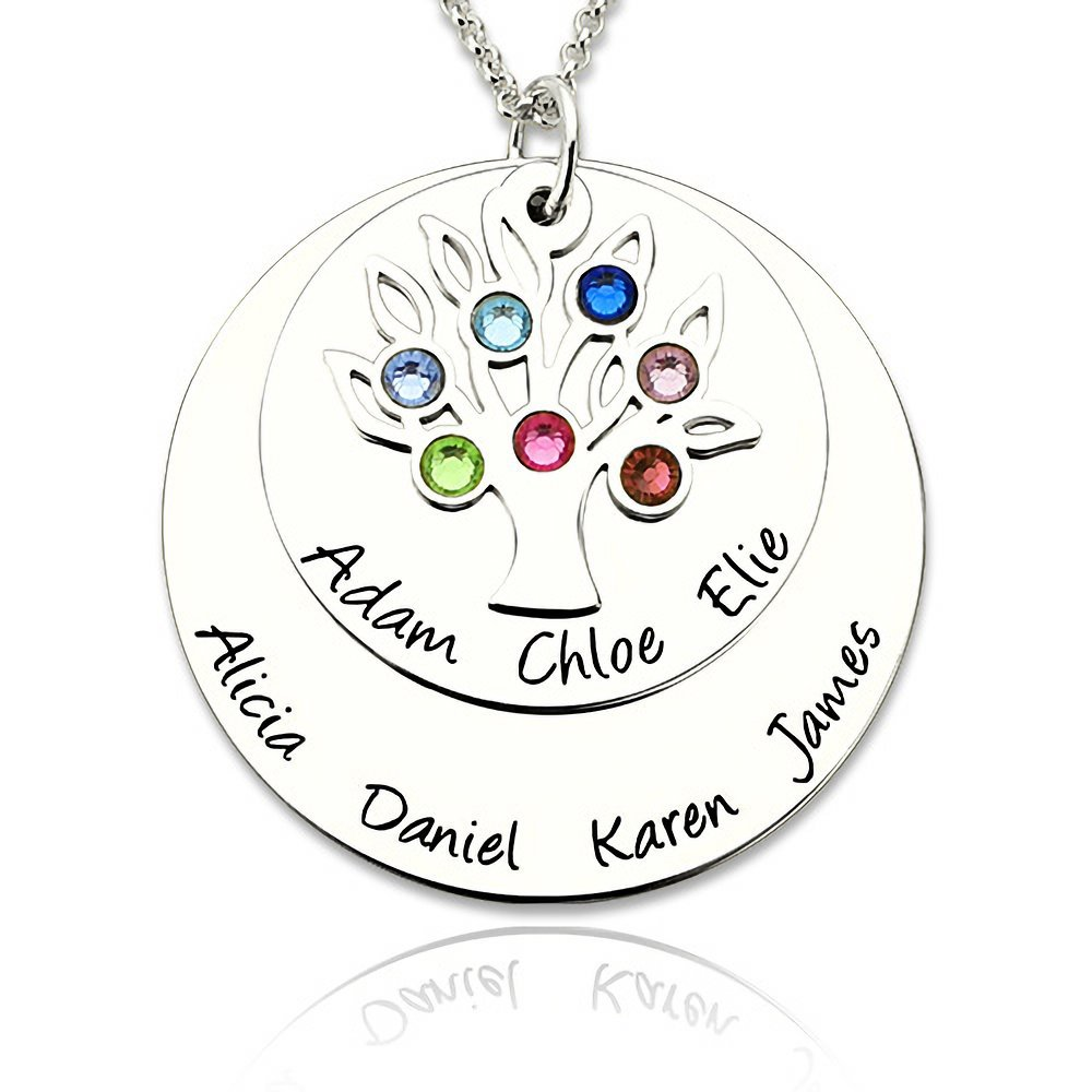 ST11 Personalized Family Tree Pendant Necklace Women Girls Birthstones Engrave Name Birthday Gift