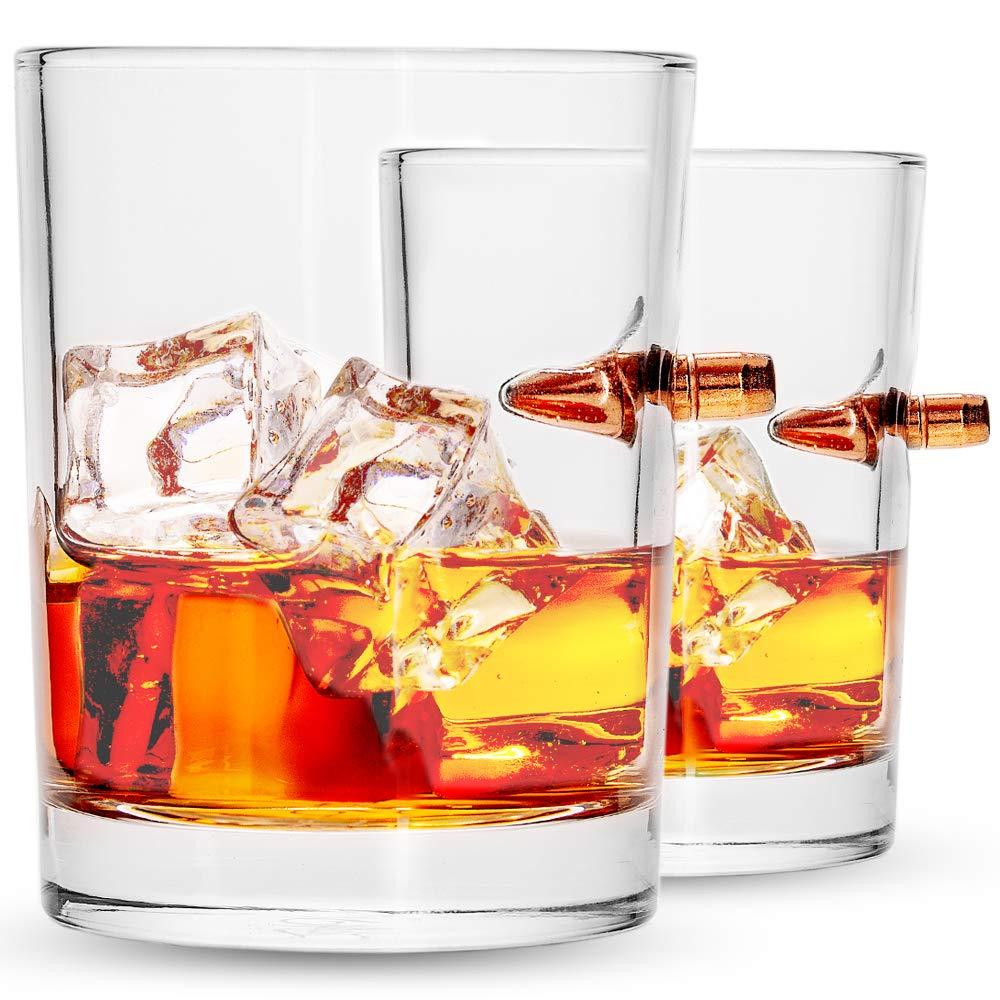 Lucky Shot .308 Real Bullet HandmadeWhiskey Glass Set of 2