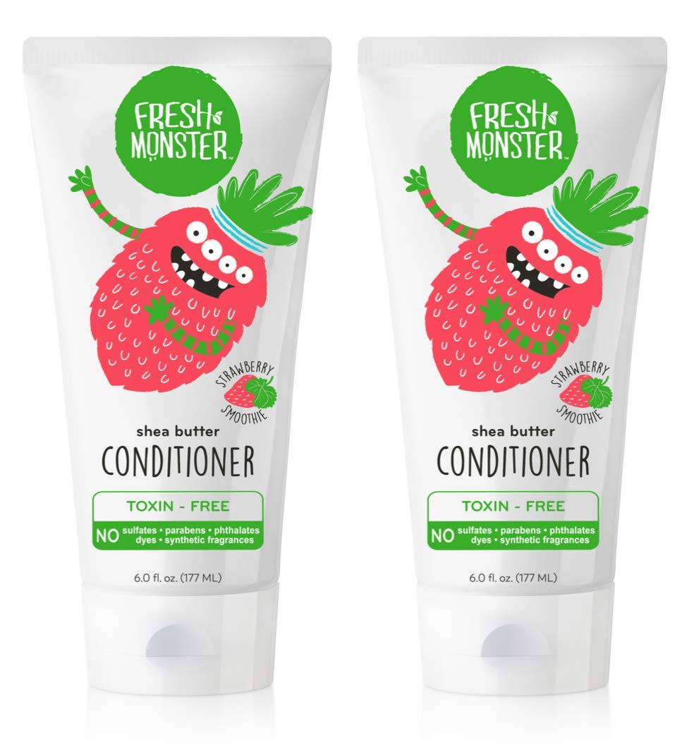 Fresh Monster Natural, Toxin-free Kids Hair Conditioner, Strawberry Smoothie (2 Pack, 6oz/ea)