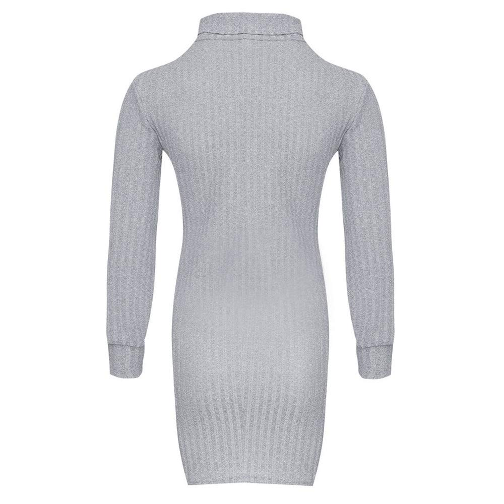 Herbst Strick Kleid Neon Longpulli Langarm Einfarbig Minikleid