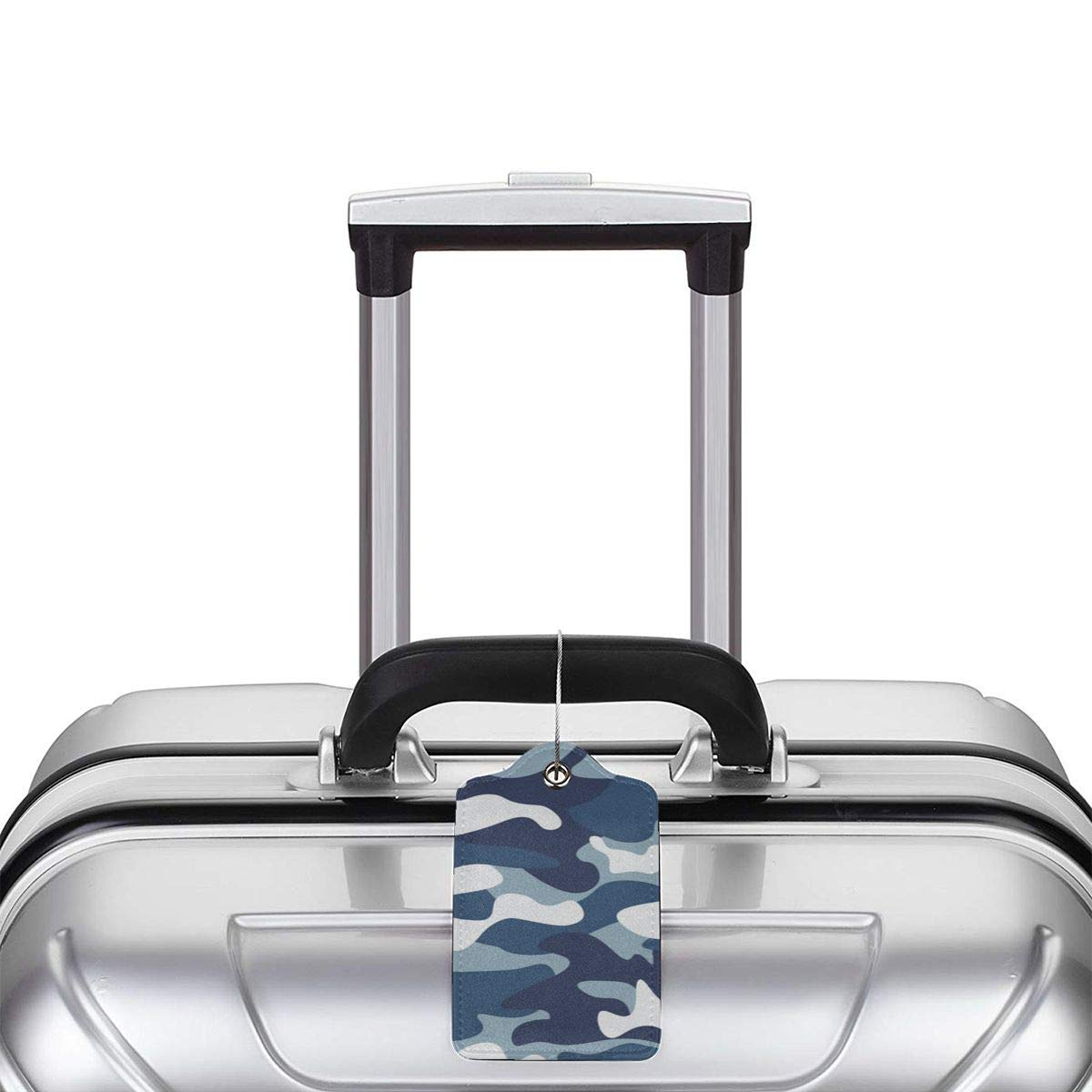 Navy Blue Gray Forest Camouflage Travel Luggage Tags With Full Privacy Cover Leather Case And Stainless Steel Loop
