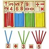 Daorier 52PCS Jouet de Calcul Mathématique Boîte en bois Bébé Jouet Educatif En Bois Stick Bâton Chiffres Mathématique Intelligence Préscolaire Jouet éducatifs Pour Bébé,Enfant Plus de 3 Ans
