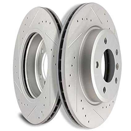 SCITOO Brakes Rotors 2pcs Front Drilled Slotted Discs Brake Kit Fit 00 BMW 323i