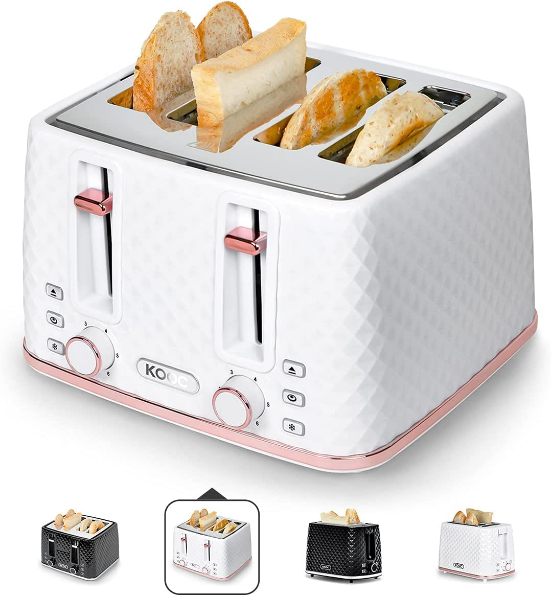 [NEW LAUNCH] KOOC Large Toaster 4 Slice, 1.5-inch Extra-wide Slot for Evenly Toast, 6 Shade Settings, Bagel/Defrost/Cancel in 1, Stainless Steel Inner, High Lift Lever, Removable Crumb Tray, White