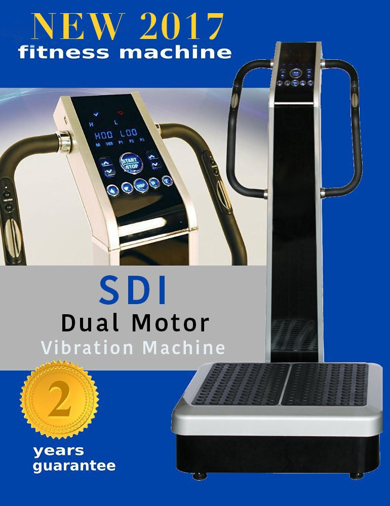 Whole Body Vibration Machine - Dual Motor by SDI : Commercial (2HP, 440 lbs), Dual Motor, Large Vibrating Platform, USB Programmable