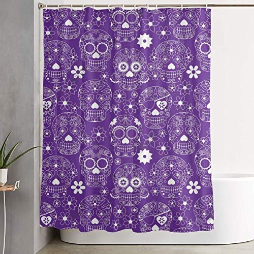 YOFFYO Purple Floral Sugar Skull Shower Curtain 12 Hooks Included Rustproof Grommets Holes - 70X70 Inch for Stalls and Bathtubs - Water Repellent Window Curtain -
