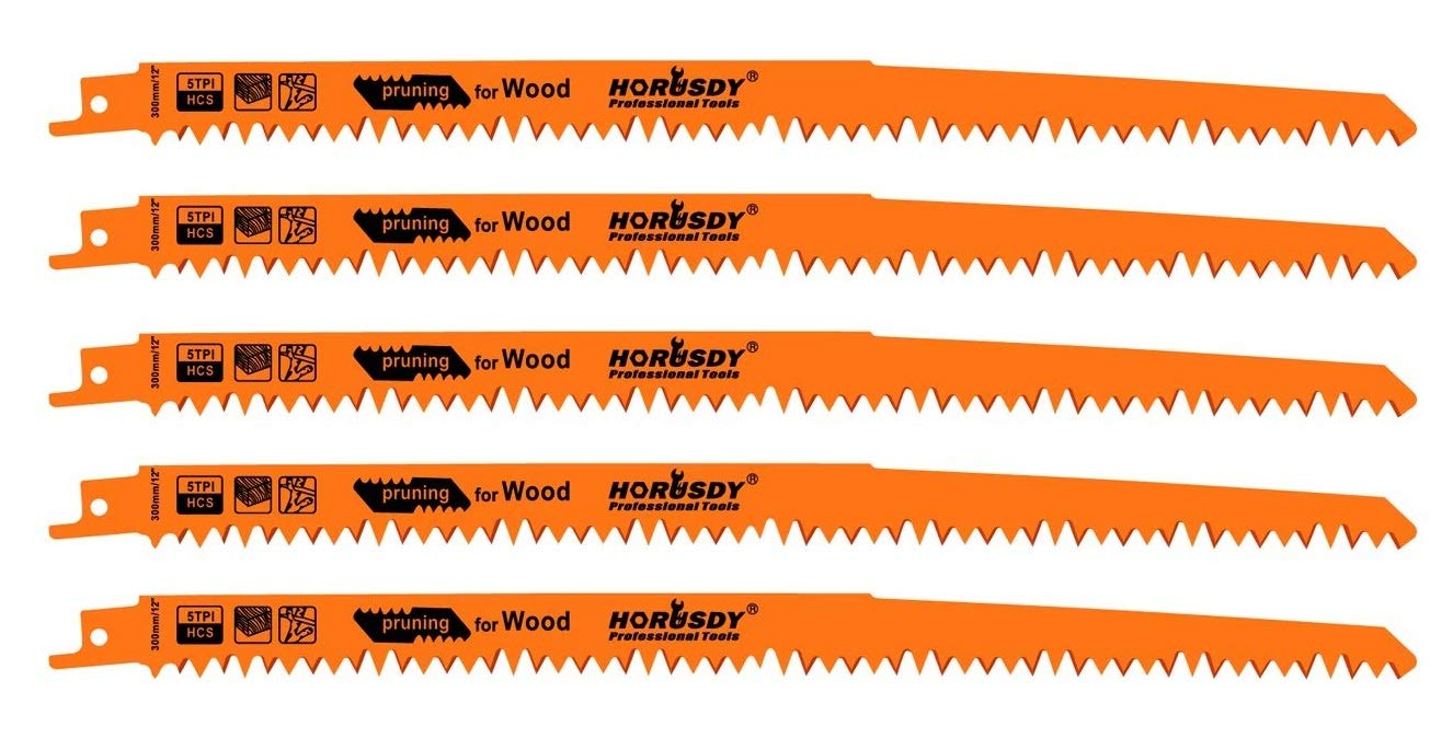 HORUSDY 12-Inch Wood Pruning Reciprocating Saw Blades, 5TPI Sawzall Saw Blades - 5 Pack