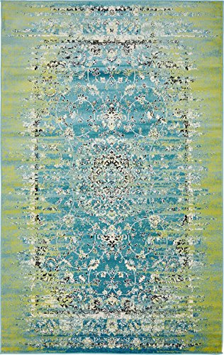 Luxury Modern Vintage Inspired Overdyed Area Rugs Blue 5' x 8' FT Artis Designer Rug Colorful Craft Rugs and Carpet (Turquoise And Green Rug)