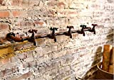 WWZY Faucet Robe hook Iron Retro Personality Wall hangings Wall hooks Row hook Magic Hangers (pack of 3 sets) , water pipes 5 hook