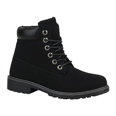 Stiefelparadies Unisex Damen Herren Worker Boots Profil Sohle Stiefeletten Outdoor  Schuhe 128366 All Schwarz 36 Flandell