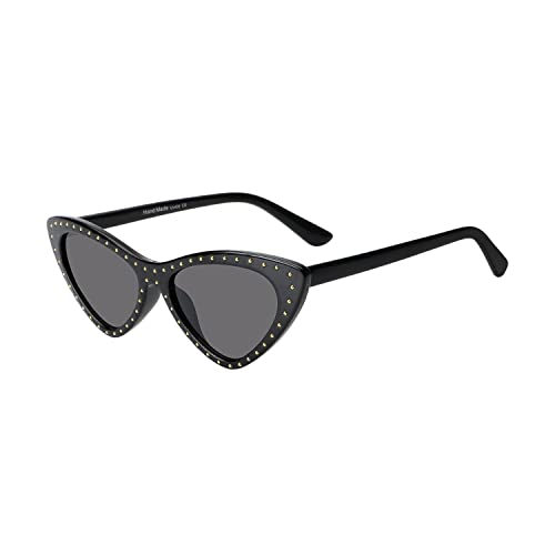 250a7a986de ROYAL GIRL Womens Cat Eye Sunglasses Retro Vintage Clout Goggles Designer  Small Frame Shades (Black