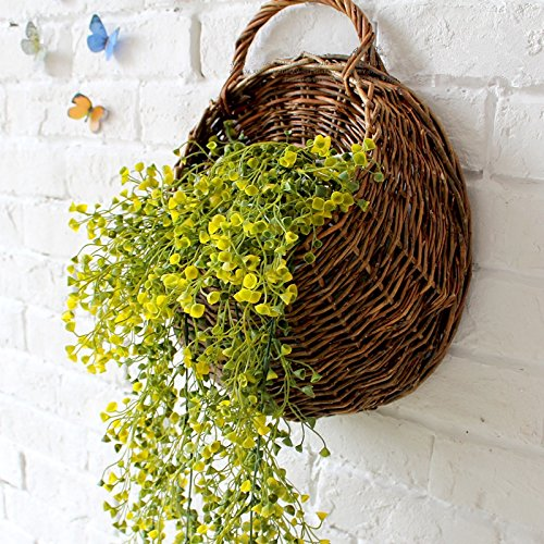 Mkono Wall Hanging Basket with Decorative Artificial Plant Vine for Home Garden Wedding Decor, Yellow (Wall Hanging Flower Arrangements)
