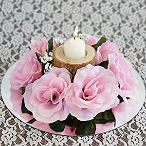 Tableclothsfactory 8 pcs Artificial Roses Flowers Candle Rings Wedding Centerpieces - Pink 12