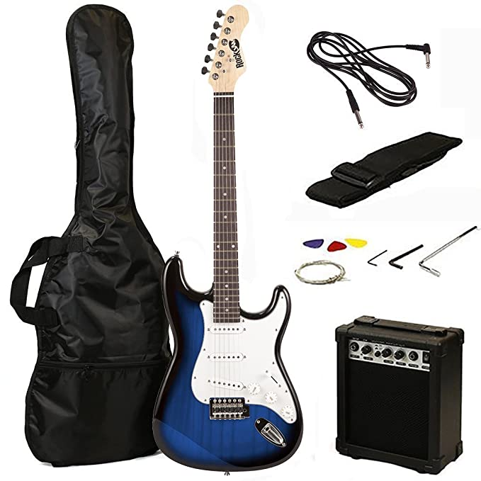 Amazon.com: RockJam 6 String Full Size Electric Guitar Super Kit Blue Burst (RJEG02-SK-BB: Musical Instruments