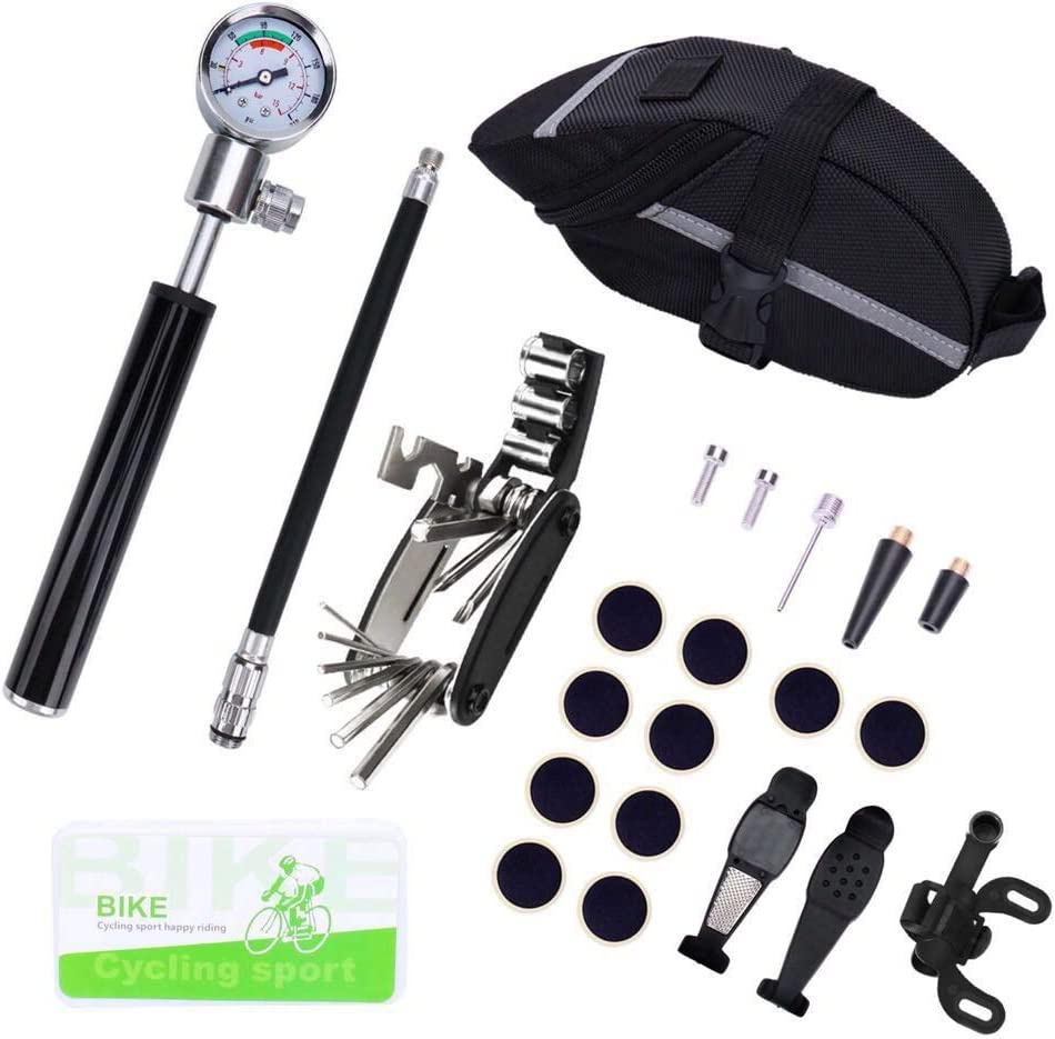 Excellent Home Mini Bike Pump and Bike Tire Repair Tool Kit – Glueless Puncture Repair Kit for Presta and Schrader Up to 210 PSI with Pressure Gauge and Smart Valve Head with One Bicycle Seat Bag