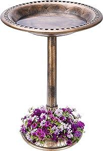 VIVOHOME 28 Inch Height Polyresin Lightweight Antique Outdoor Garden Bird Bath with Flower Planter Base Copper