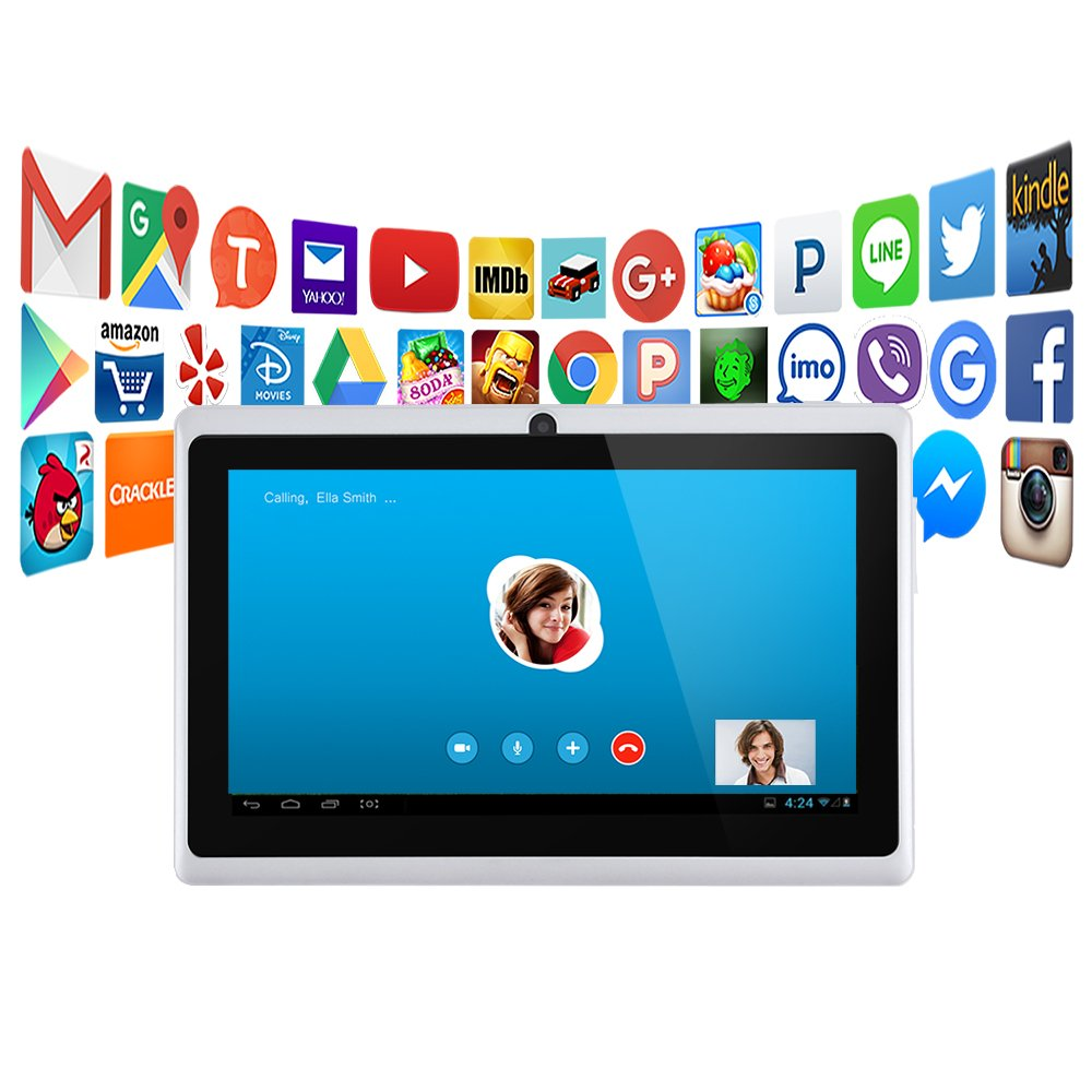 Alldaymall - A88X - Tableta táctil, 7 Pulgadas, Sistema Android 4.4, Quad Core, 1024 x 600 HD, cámara Doble, Bluetooth, Wi-Fi, 8 GB, Compatible con ...