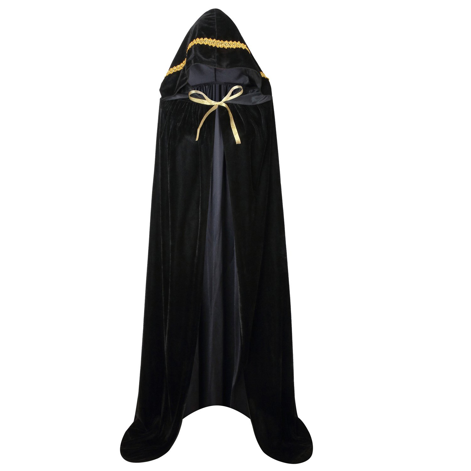 Ourlove Fashion Unisex Full Length Hooded Robe Cloak Long Velvet Cape Cosplay Costume 59'' (Black (Lace))