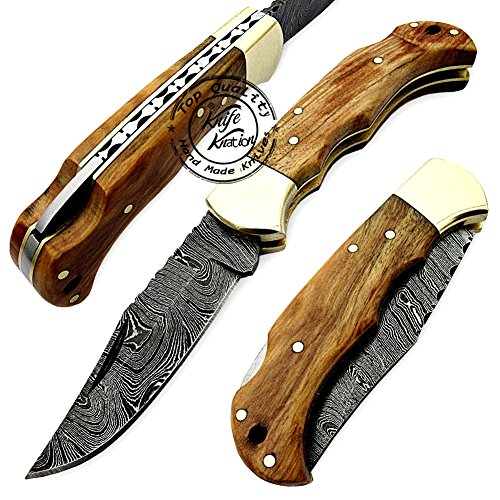 Olive Wood 6.5'' 100% Handmade Damascus Steel Folding Pocket Knife 100% Prime Quality ()