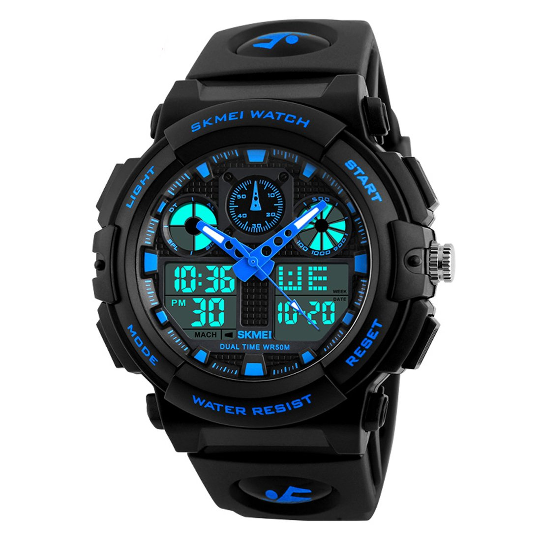 Skmei S-Shock Blue Multi-Functional Analog Digital Sports Watch for Men's & Boys product image