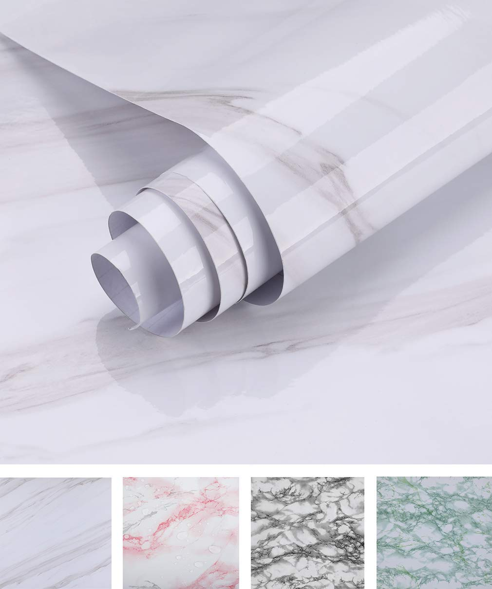 Oxdigi Marble Contact Paper 24 x 196 inches Self Adhesive Peel & Stick Wallpaper for Kitchen Countertop Cabinet Furniture Waterproof PVC Removable White by Oxdigi