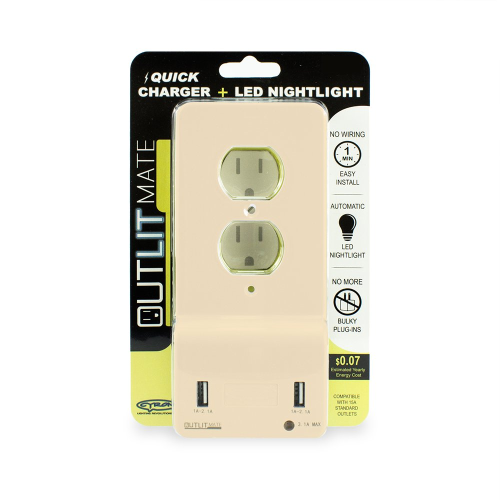 Cyron Outlitmate Dual Usb Port Wall Quick Charger Outlet Duplex Traveller Delcell 21a Receptacle Socket 31a Charging Max Plate Cover Included Etl Listed