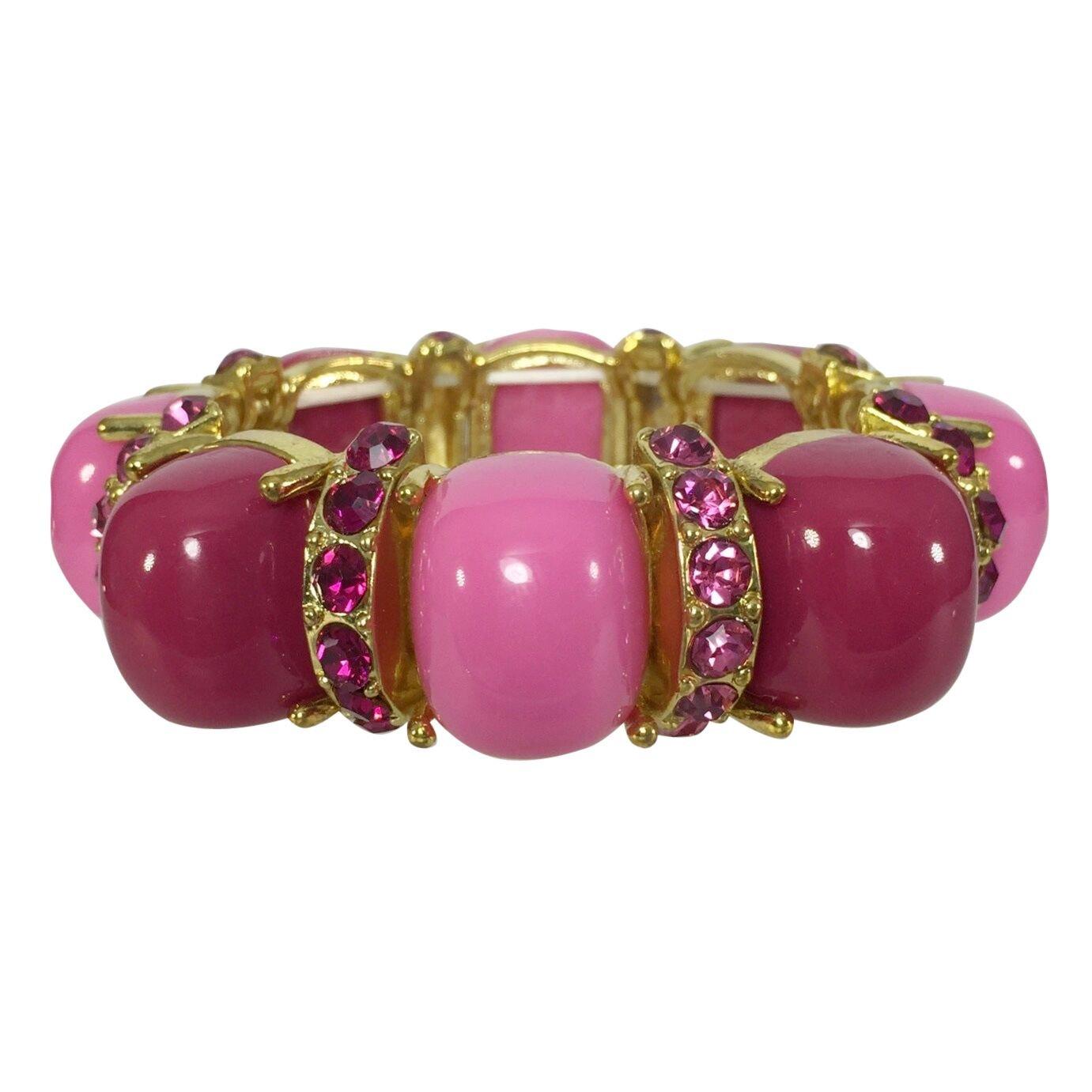 Gypsy Jewels Pink Tones Rhinestone Acrylic Bubble Gold Tone Fun Stretch Bracelet