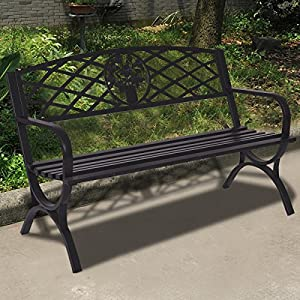 "Giantex 50"" Patio Garden Bench Loveseats Park Yard Furniture Decor Cast Iron Frame Black (Black Style 3)"