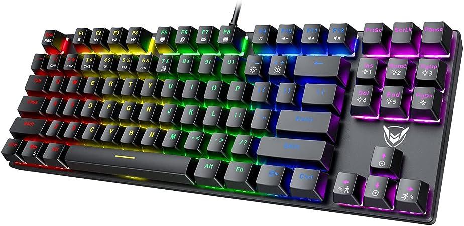 Amazon.com: PICTEK TKL Mechanical Gaming Keyboard, RGB LED Rainbow Backlit 60% keyboard with Blue Switches, 27 LED Lighting Modes 87 Keys Keyboard, 100% Anti-Ghosting Tenkeyless Keyboard for Windows PC/MAC Games: Computers &