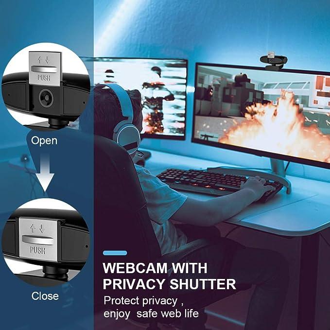 CawBing Cámara Web 1080P con Micrófono, Computadora Portátil PC de Escritorio Webcam Full HD para Videoconferencia, Estudios, Conferencias, Grabación, ...