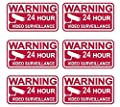 """6 Pcs Persuasive Unique Warning 24 Hour Video Surveillance Security Sticker Signs Doors Adhesive Business Burglar Sign Window Premises Tools House Neighbor Printed Fence Property Outdoor Size 3.5""""x2"""""""