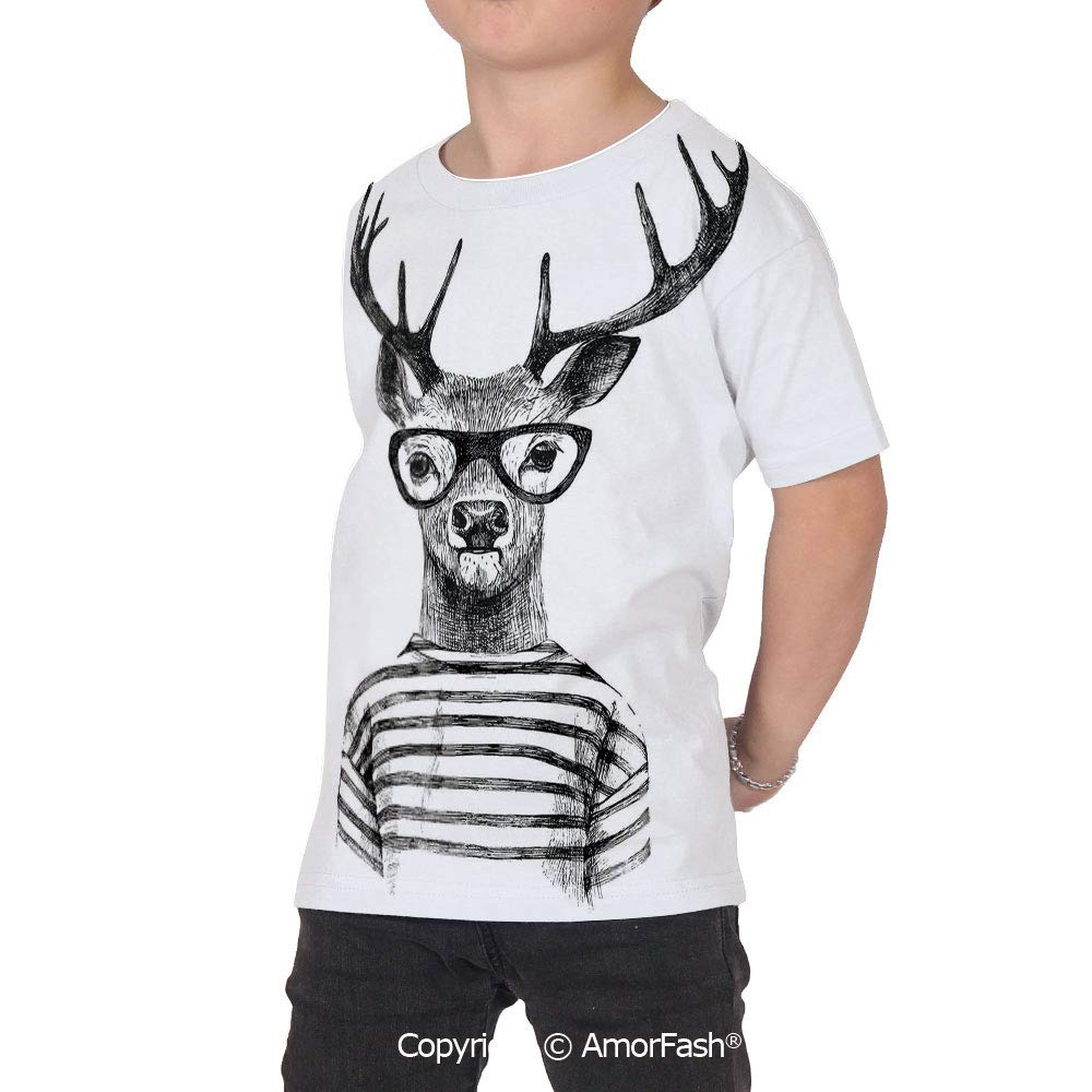 PUTIEN Deer Crew Neck for Ultimate Comfort T-Shirt,Dressed up Reindeer HEA