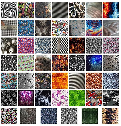 Hydrographics Film - Water Transfer Printing Film - Scraps & Samples - Assorted Sample 6 Pack by Colorful Hydrographics Coating