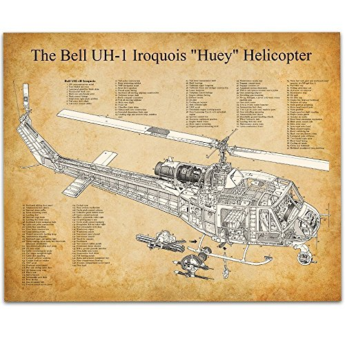 Bell Huey Helicopter Art Print - 11x14 Unframed Patent Print - Great Room Decor or Gift for (Antique Military Prints)
