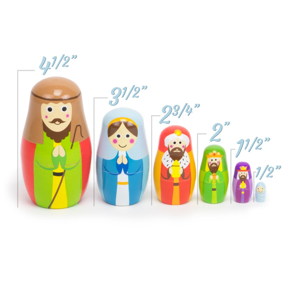 Nesting Nativity Wooden Christmas Holiday Nesting Doll Set with 6 Dolls by Imagination Generation SG/_B076HSFPM2/_US