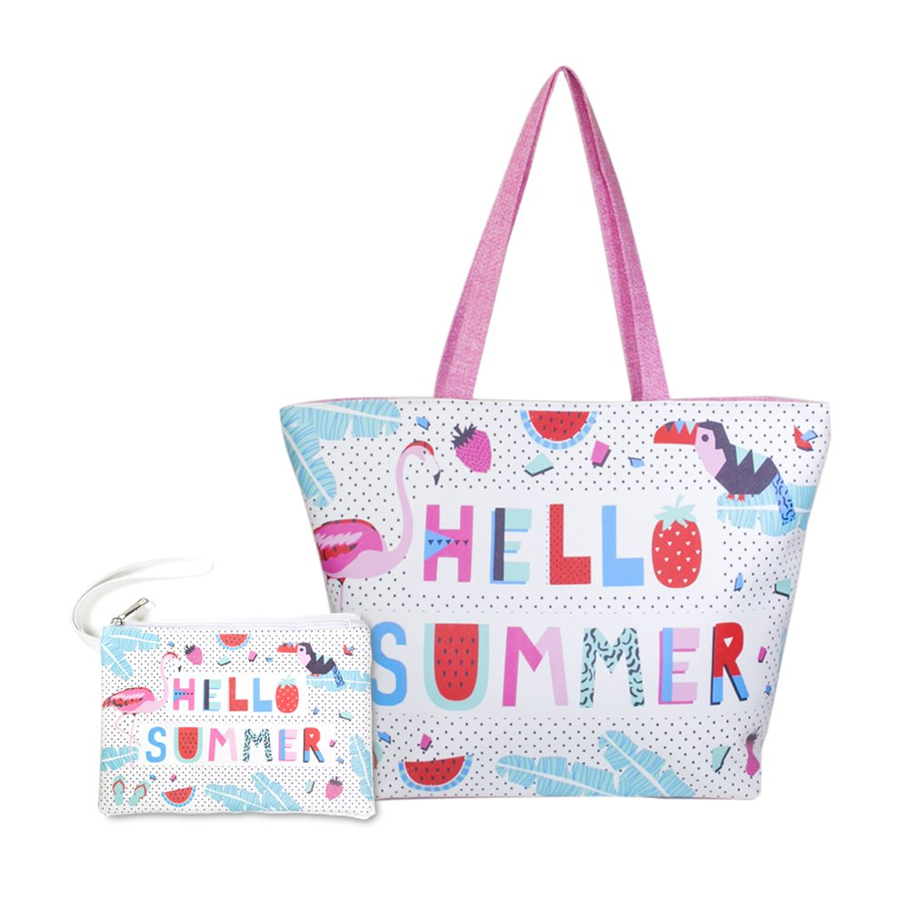 Me Plus Women Beach Bag and Pouch 2 pieces Set Tote Shoulder Bag Travel Organizer Pouch (Pink-Hello Summer)