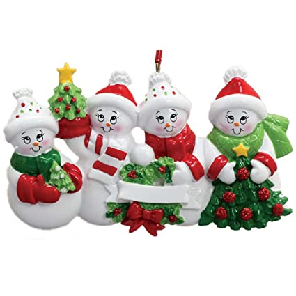a4daed2f7b9 Personalized Snow Family of 4 Christmas Ornament 2018 - Parents Children  Friends in Winter Hat Hold