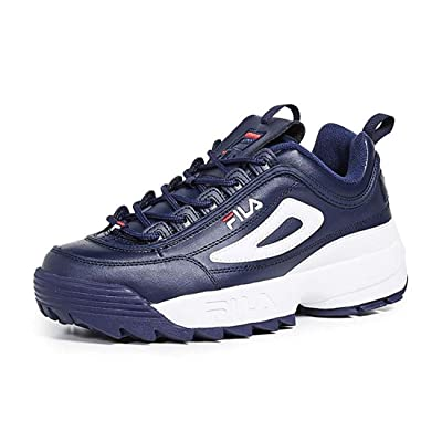 Fila Mens Disruptor ll Premium Navy/White/Red Sneaker - 11.5 | Fashion Sneakers