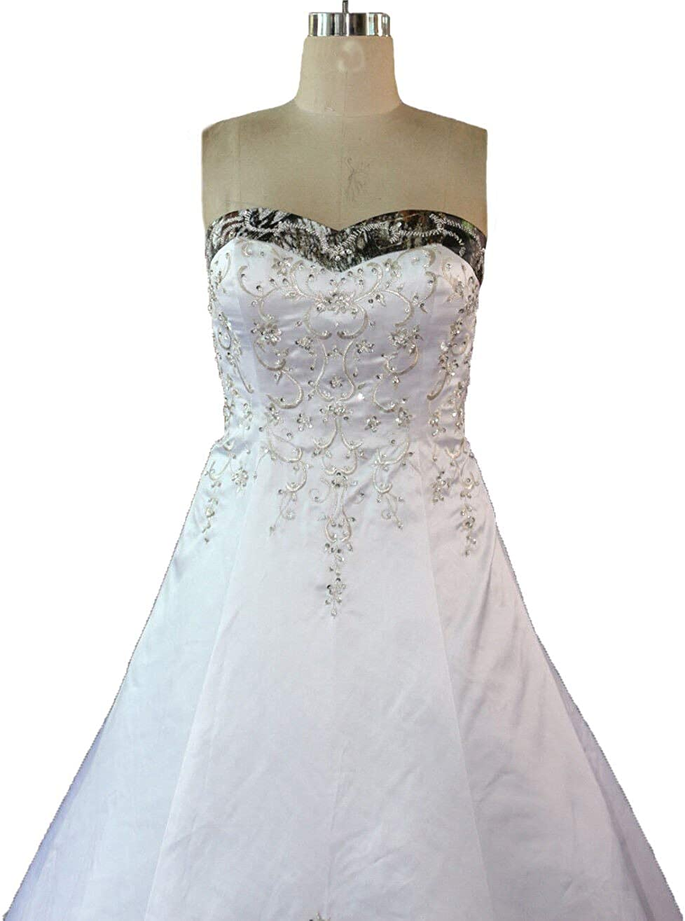 Zvocy White Satin Camo Wedding Dresses A Line Camouflage Embroidery Bridal Gown At Amazon Women S Clothing Store