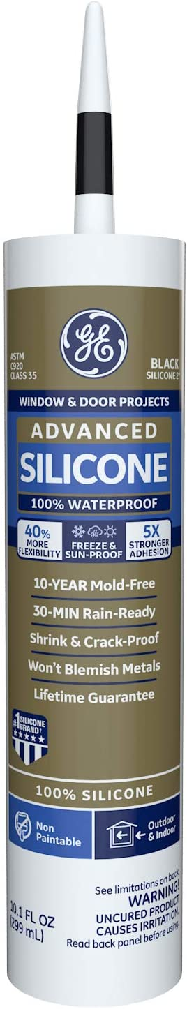 GE GE5030 Advanced Silicone 2 Window & Door Sealant Caulk, 10.1oz, Black
