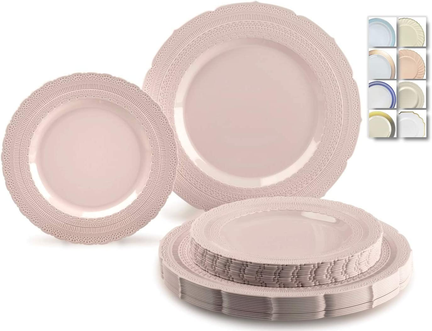 OCCASIONS 120 Plates Pack,(60 Guests) Extra Heavyweight Vintage Wedding Disposable/Reusable Plastic Plates 60x11'' Dinner+60 x 8.25'' Salad/Dessert Plate (Chateau Blush Pink) 61bTSxGgWDL