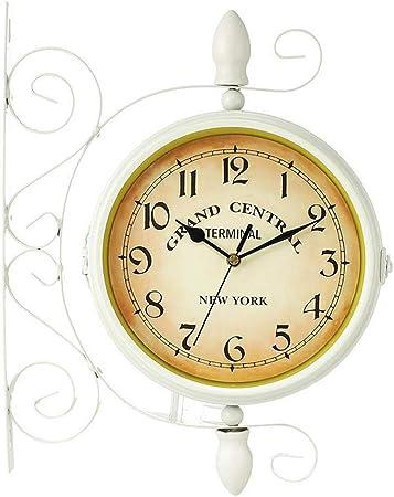 Reloj de Pared, Jardín al aire libre Estación grande Reloj silencioso Giratorio Exterior gigante Reloj decorativo de doble cara de metal Patio redondo retro Decoración interior vintage - Blanco: Amazon.es: Hogar