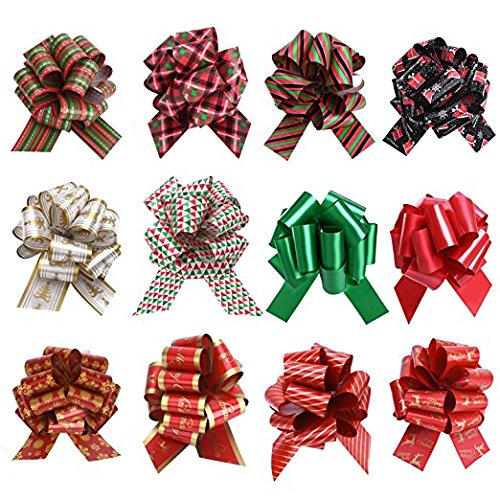 12 Pieces Christmas Gift Ribbon Pull Bows for Holiday Decoration, Christmas Gifts Wrapping, Bows, Baskets and Wine Bottles Decoration