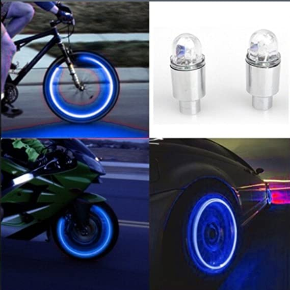 Luckycat Accesorios para automóviles Accesorios para Bicicletas Neon Blue Strobe LED Válvula para neumáticos Caps 2PC