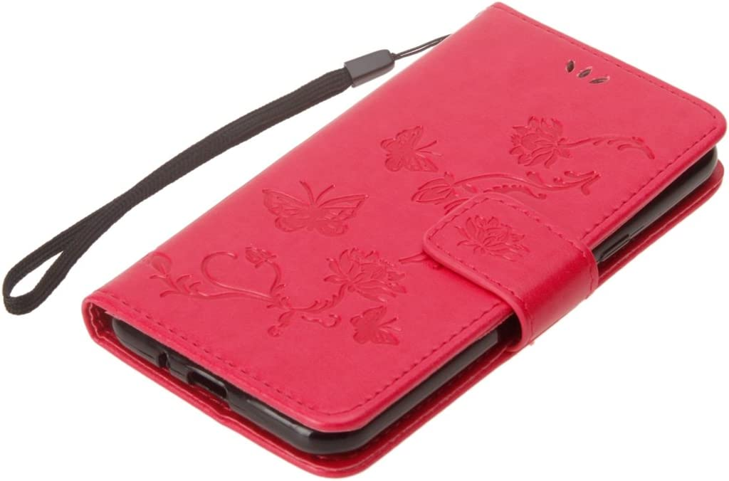 IKASEFU Emboss butterfly Floral Pu Leather Wallet Strap Case Card Slots Shockproof Magnetic Folio Flip Kickstand Feature Protective Soft Bumper Cover Case Compatible with Samsung Galaxy J3 2016,Black