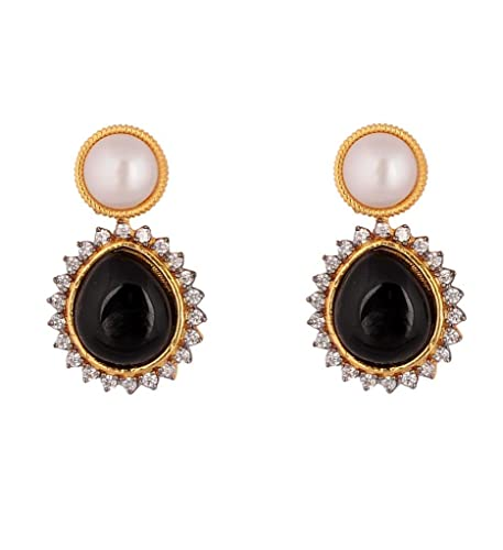 92069a2e9 Buy Pearl top and black stone american diamond earrings Online at Low  Prices in India